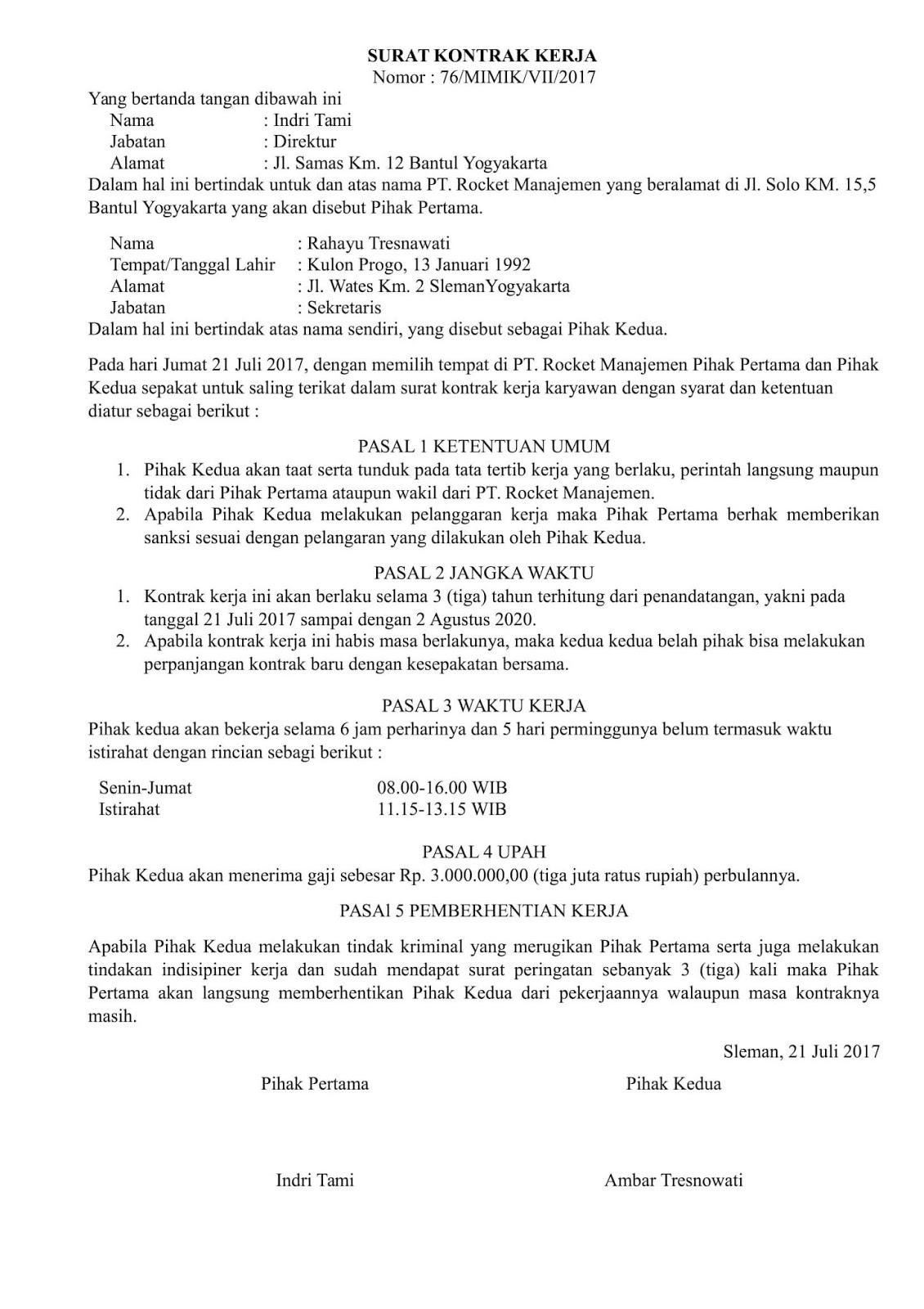 Contoh Surat Perjanjian Kontrak Kerja Karyawan Swasta