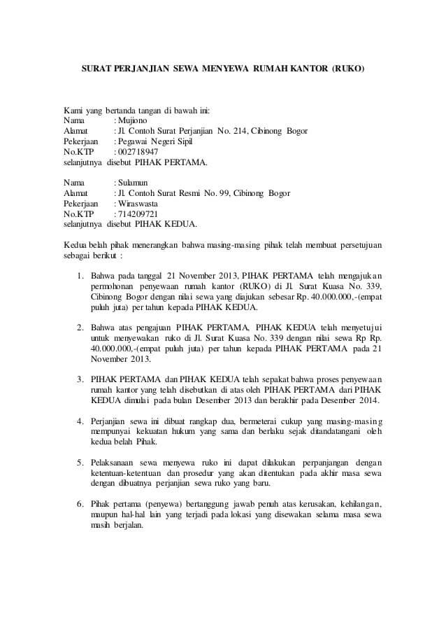 10 Contoh Surat Perjanjian Sewa Kontrak Rumah Yang Baik
