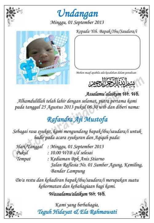 Download Desain Undangan Aqiqah Coreldraw