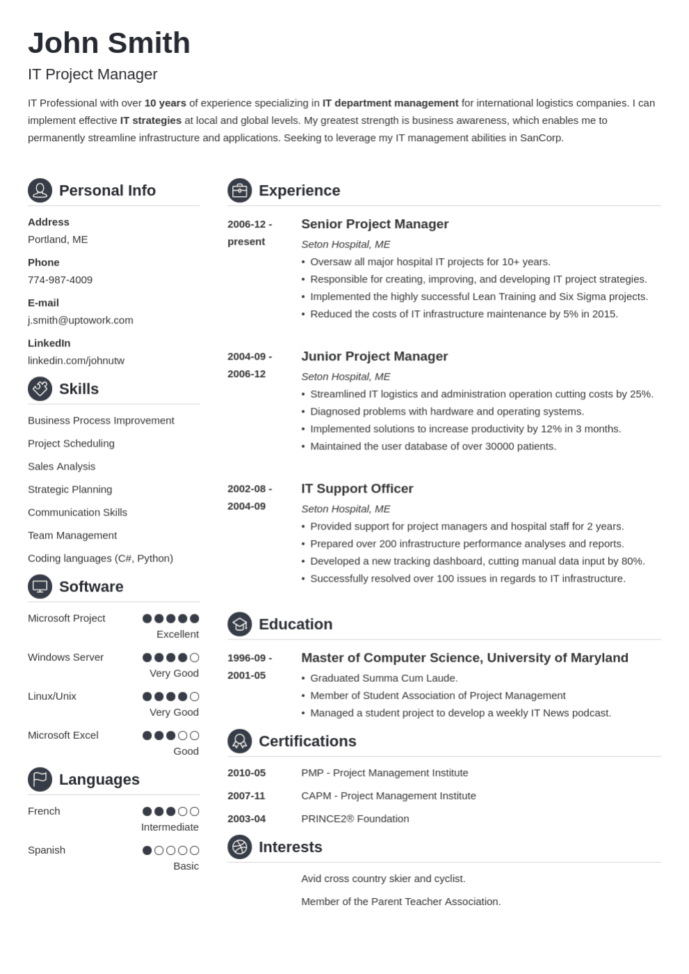 resume format for any job titles