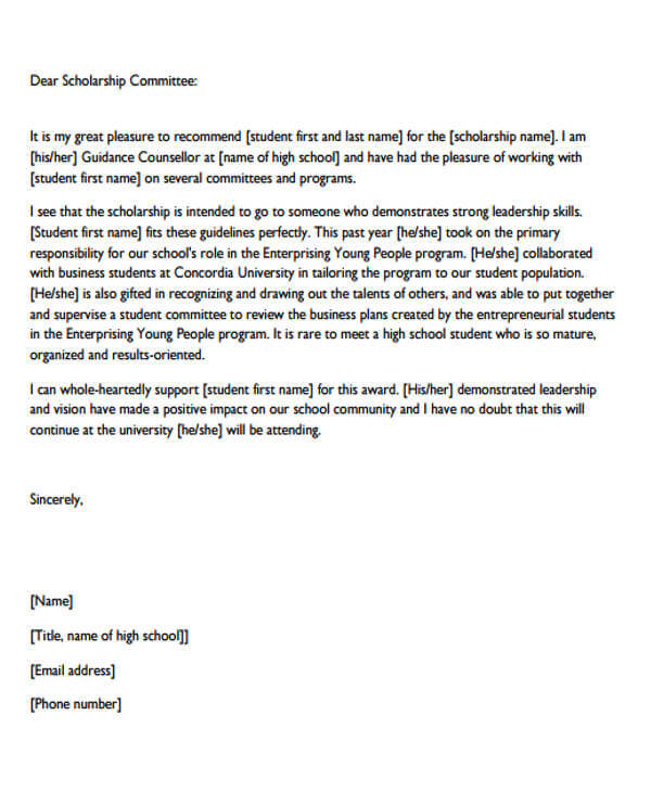Letter Of Recommendation For Scholarship From Mentor
