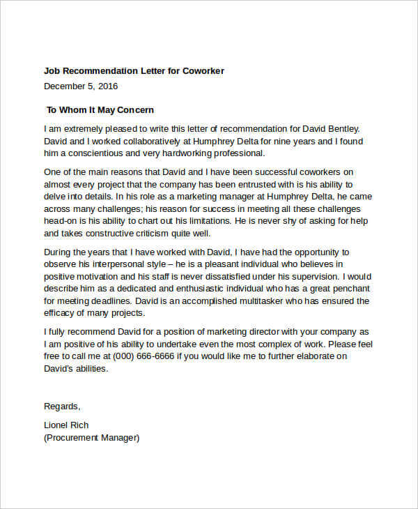 Scholarship Recommendation Letter For Coworker