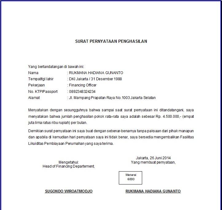 Contoh Surat Pernyataan Salah Ketik Nama Contoh Surat