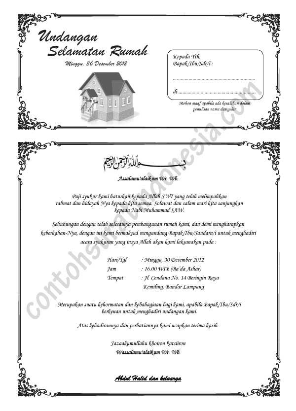 Contoh Undangan Selamatan : contoh, undangan, selamatan, Contoh, Surat, Undangan, Syukuran, Rumah, Baru,, Format