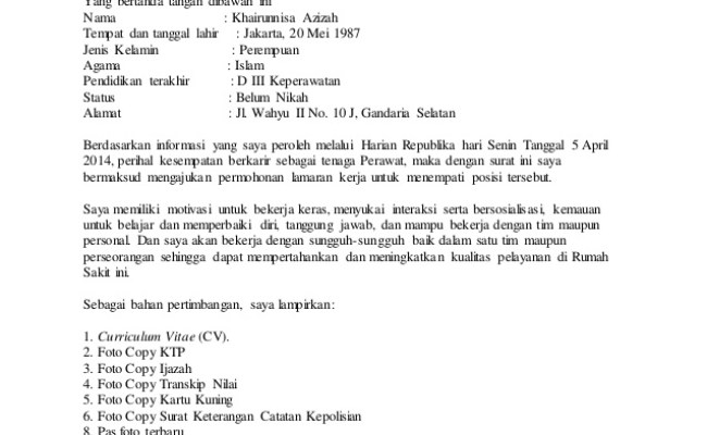 Contoh Surat Lamaran Kerja Untuk Bekerja Di Rumah Sakit Cute766