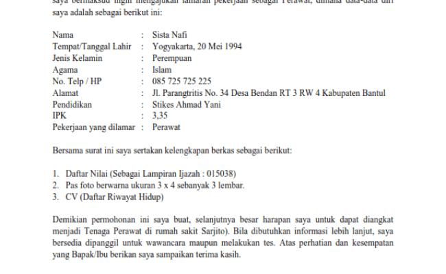 Aneka Contoh Surat Lamaran Kerja Ke Rumah Sakit 43 Di Cute766