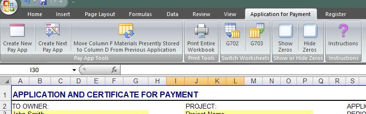 G702 Application for Payment - Toolbar