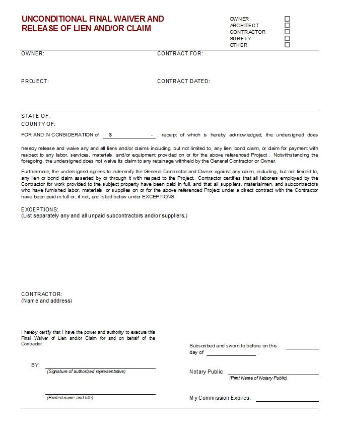 partial lien waiver template - unconditional final waiver of lien and or claim cms