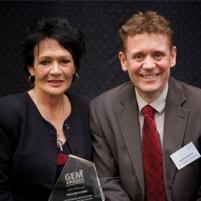 Tina Nobbs receiving the award on behalf of her sister Pauline.