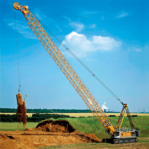 "Beautiful study of a Liebherr model HS crawler crane equipped for dragline service.Liebherr call these ""duty cycle"" cranes and this is one of 