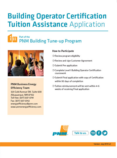 Building Operator Certification Tuition Assistance Application
