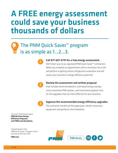 PNM Quick Saver Program for Small Businesses brochure