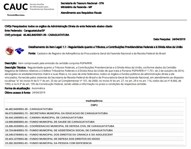 Prefeitura contesta com CAUC incompleto