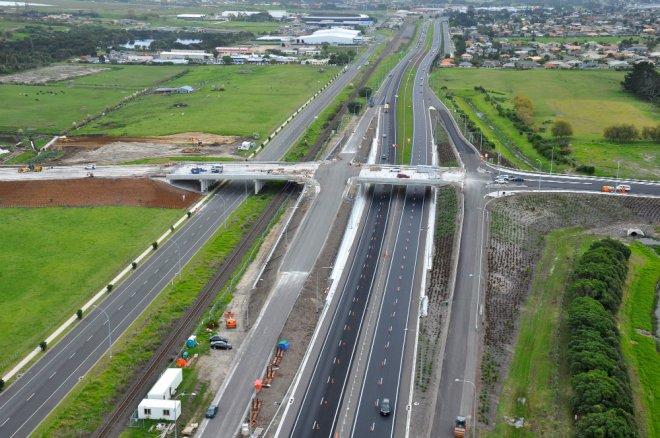 Aerial view of Domain Rd bridge