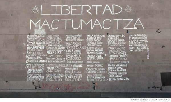 Nombres de los estudiantes detenidos pertenecientes a la normal rural Mactumactzá