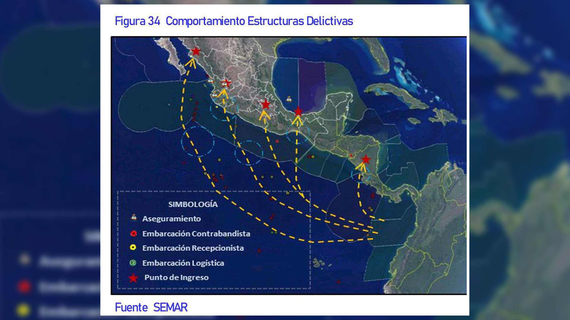 Mapa de los litorales de mexico que utiliza el narcotrafico
