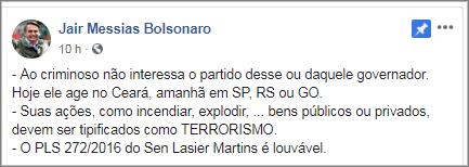 Bolsonaro a favor de projeto que amplia lei antiterrorismo