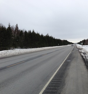 Highway conditions at 3:30 pm, February 20, when Cape Breton schools closed early due to forecasts of possible freezing rain that evening.