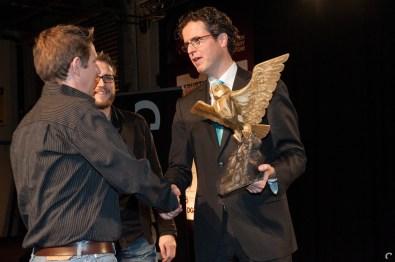 Wethouder Gert Boeve met Xform'ers Diederik Groesbeek en Pieter Albers