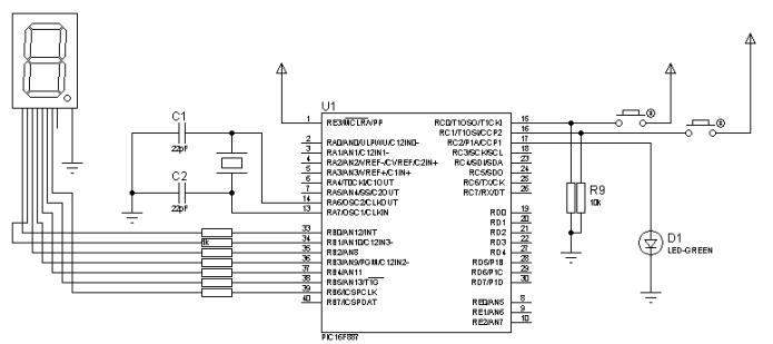 Microcontrolador con display 7 segmentos