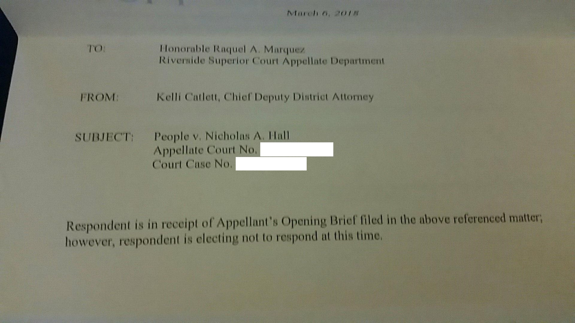 Appellee's Opening Brief – Response from District Attorney's