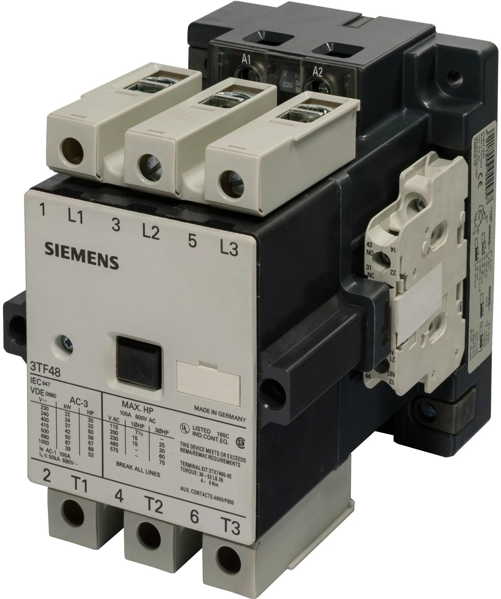 wiring diagram of magnetic contactor strat 3 way switch 3tf4 contactors motor starters siemens