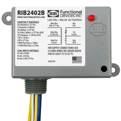 small resolution of functional devices rib rib2402b enclosed relay 20amp spdt 24vac dc 208 277vac