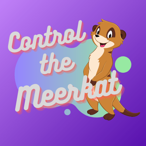 Control The Meerkat logo. It has a purple background, with a blended blue and green bubble. With the words Control The Meerkat in the foreground an and animated smiling meerkat