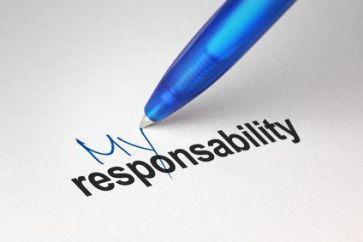 """Boígrafo escribiendo """"Mi responsabilidad"""" en inglés"""