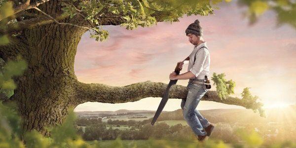 Persona cortando una rama por el sitio equivocado