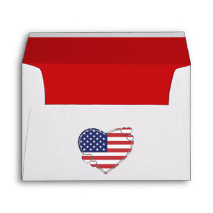 Envelope with American flag in a heart shape