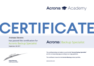 Acronis Backup Specialist