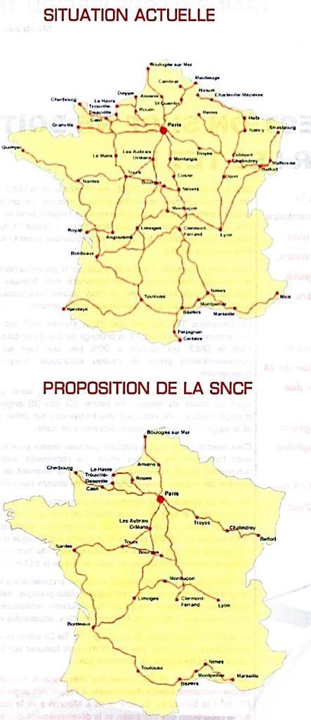 """La carte des menaces de disparition d'Intercités d'après les propositions faites par la SNCF à la """"Commission Duron"""""""
