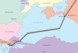Map of the proposed Turkish Stream Pipeline.