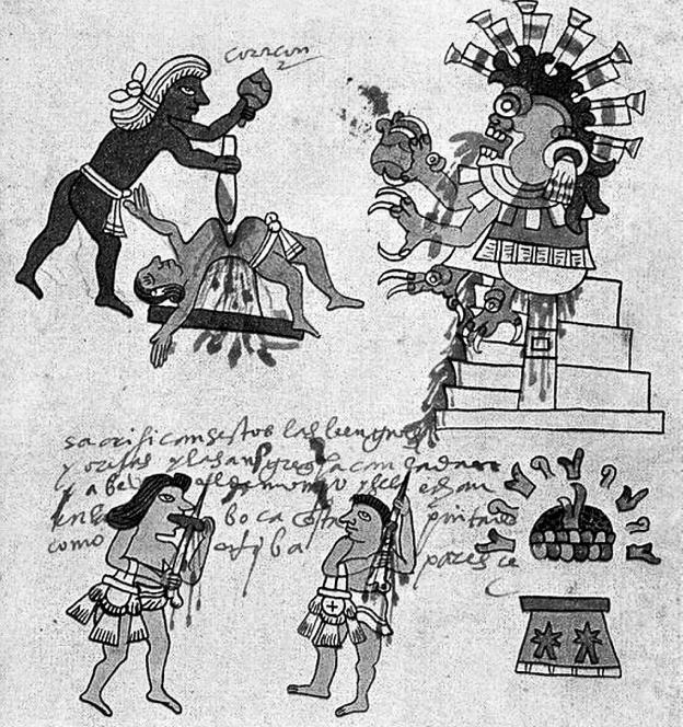 Sacrificios humanos de los aztecas, según el Códice Magliabechiano