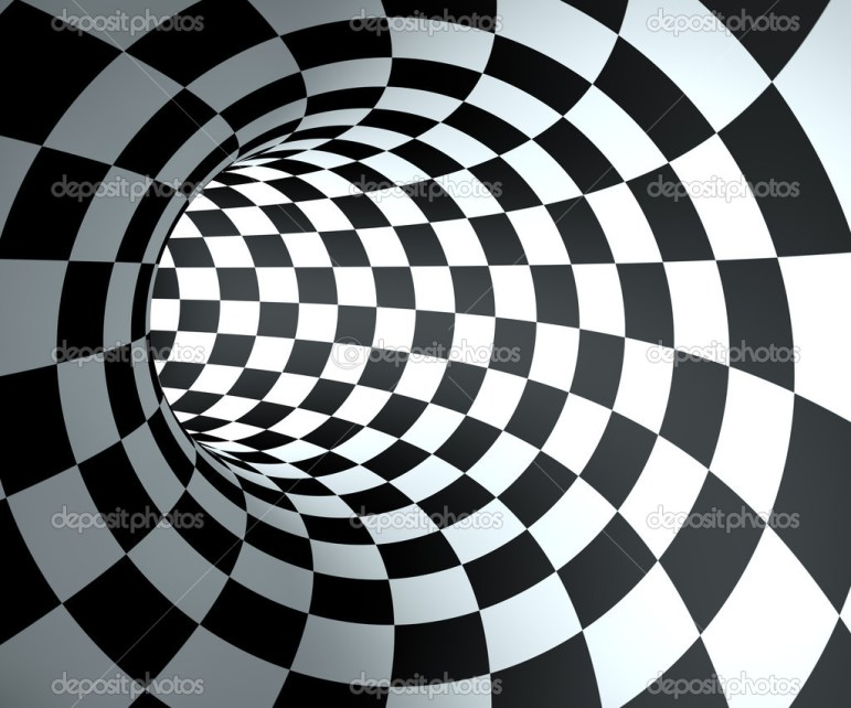 Abstract round checkered tunnel background.