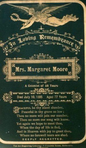 Margaret Moore memorial card