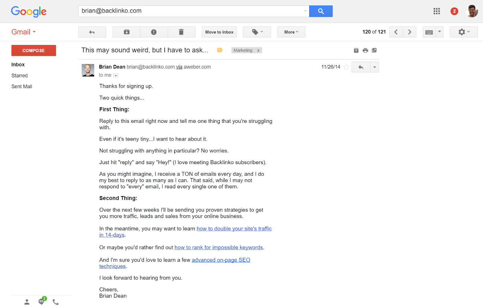hight resolution of confirmation email from brian dean