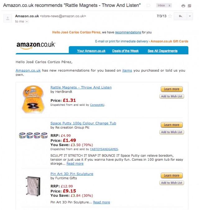 Amazon Personalized Newsletter