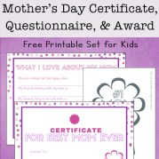 Mother's Day Questionnaire, Certificate, and Badge