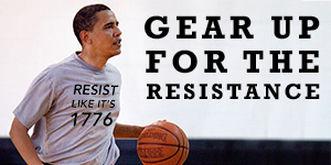 Obama in resist shirt - but not for real