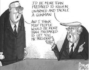 Trump running into danger joke