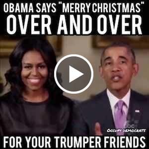 Obamas saying Merry Christmas