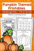 Pumpkin worksheets for kindergarten and 1st grade