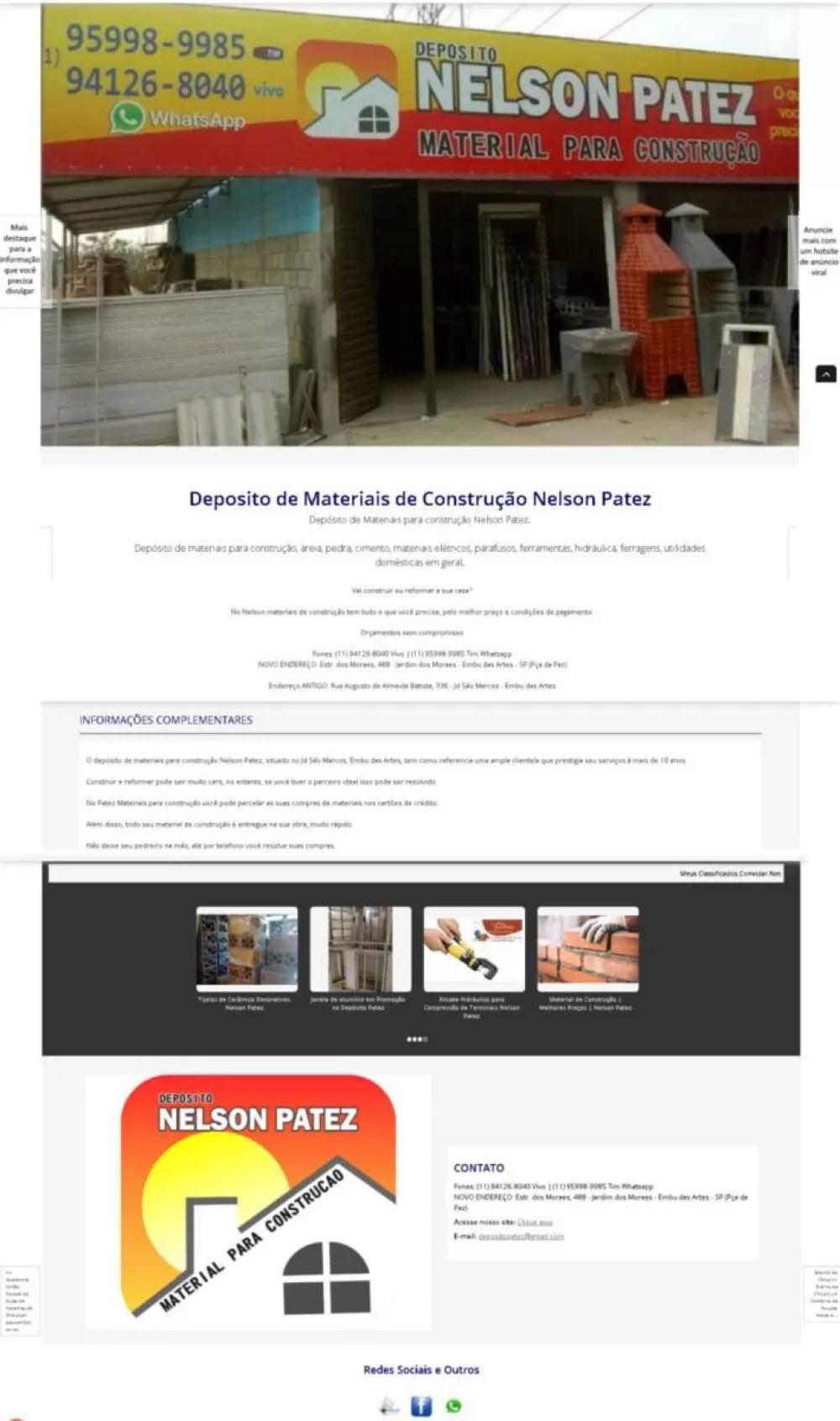 hotsite de anúncio viral marketing página de anúncio publicidade negócios nelson patez depósito