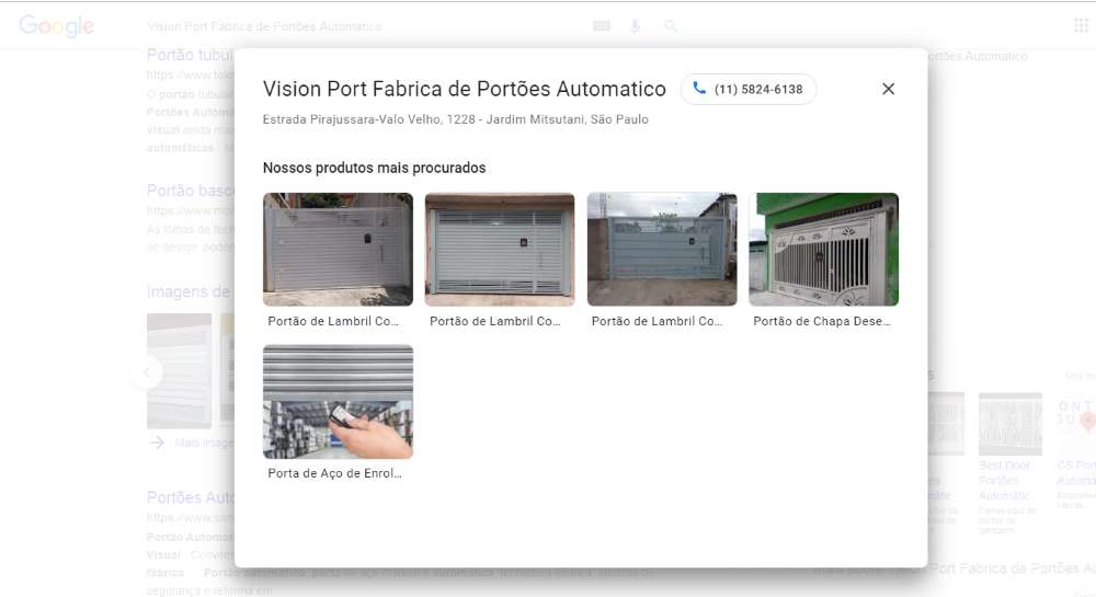 página de produtos do Google Meu Negócio
