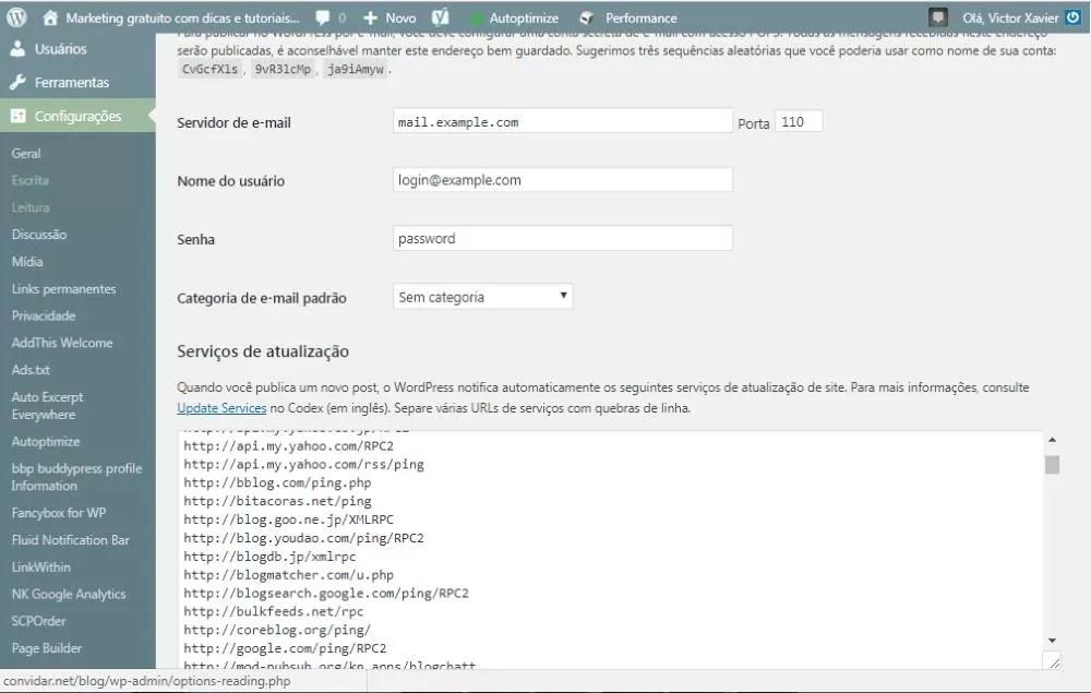 Lista de Ping do WordPress painel