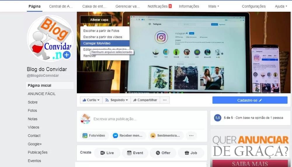 Facebook alterar capa