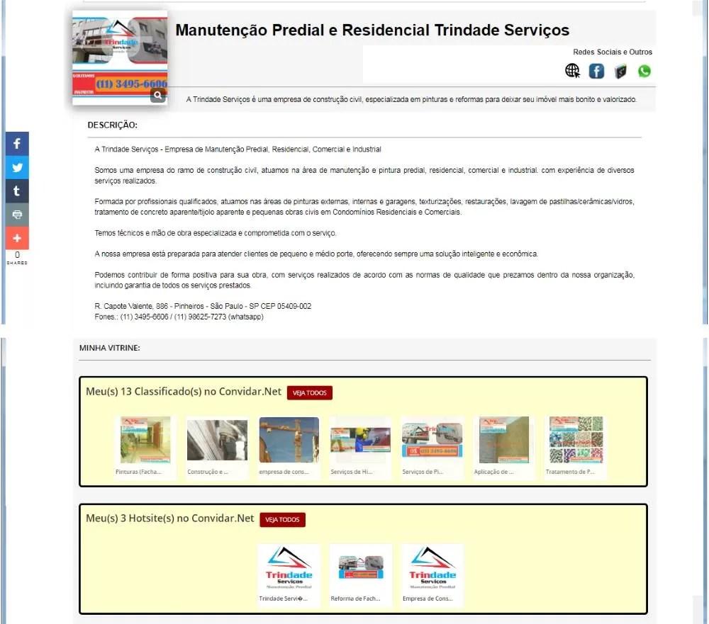 Cartão de visita online - Trindade serviços