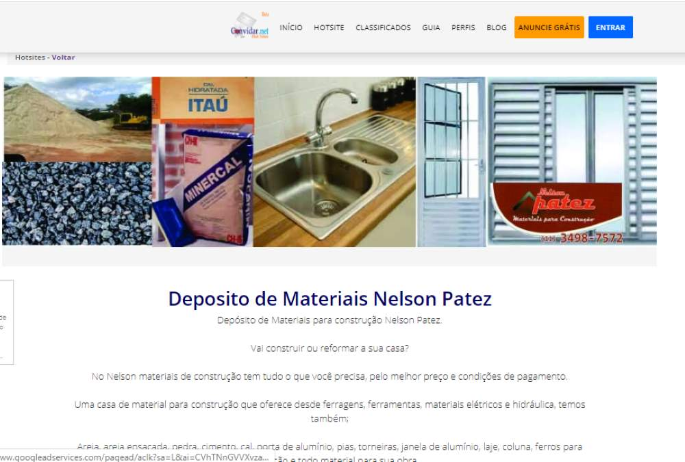 hotsite de anúncio depósito de materiais nelson patez
